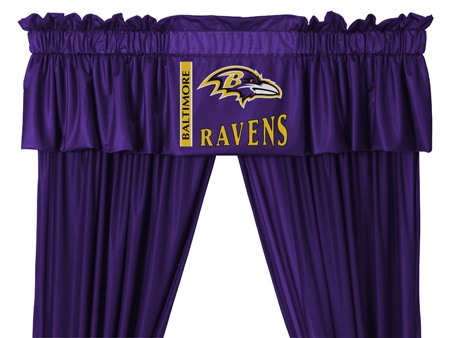 Baltimore Ravens Window Coverings Set $65.95 http://www.mysportsdecor.com/baltimore-ravens-window-coverings-set.html #baltimoreravens #baltimoreravenswindowcoveringset #baltimoreravenscurtains