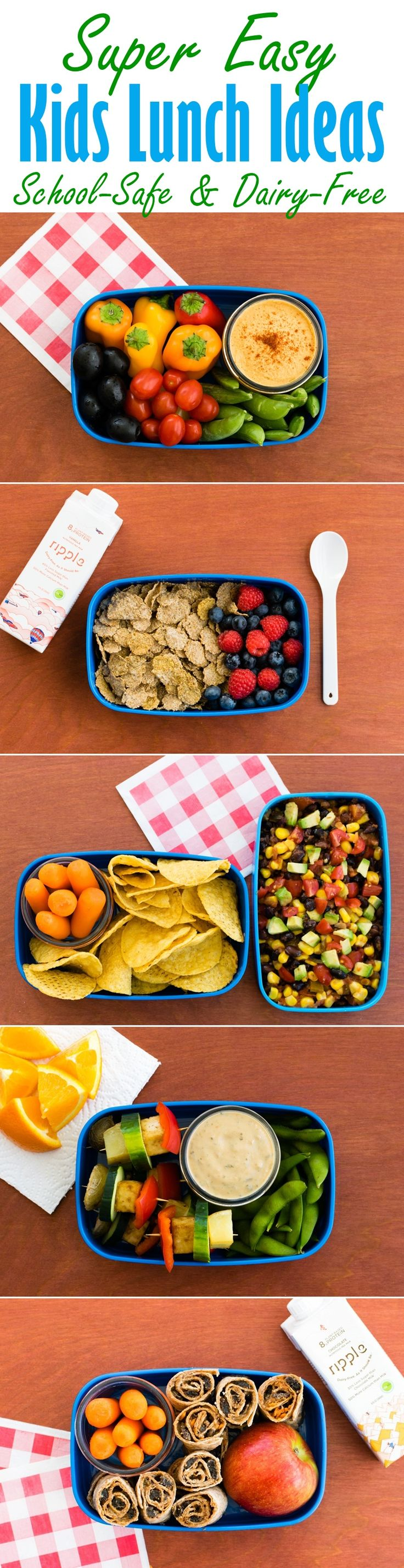 Super Easy Kids Lunch Ideas - No Prep, School Safe, Dairy Free and options for Plant Based, Top Allergen Free, Gluten Free and Vegan