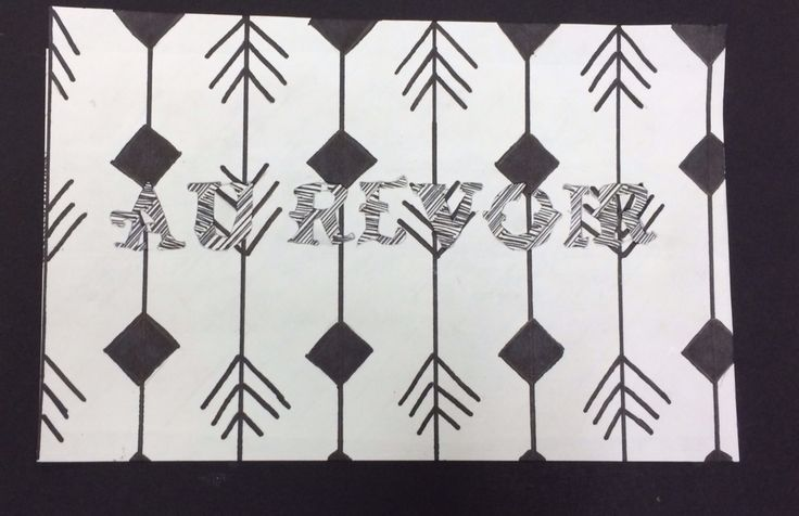 Contrast of black and white. With patterns. Done in sharpie. Au Revoir is French for goodbye.