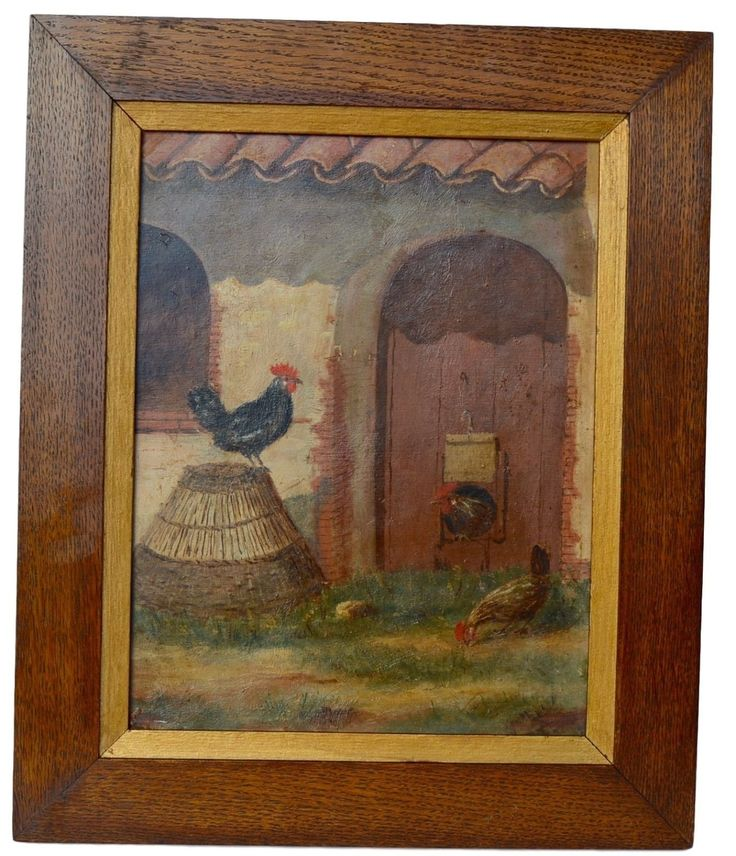 French Antique Oil Painting on Board - Provence Hen Poultry House Rooster - French Country Cottage Decor