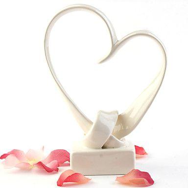 Lovely Ivory Heart Wedding Cake Topper – USD $ 19.19