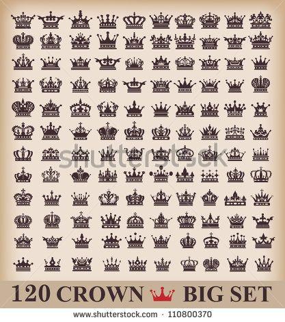 Crown Big set Collection icons Vector Vintage