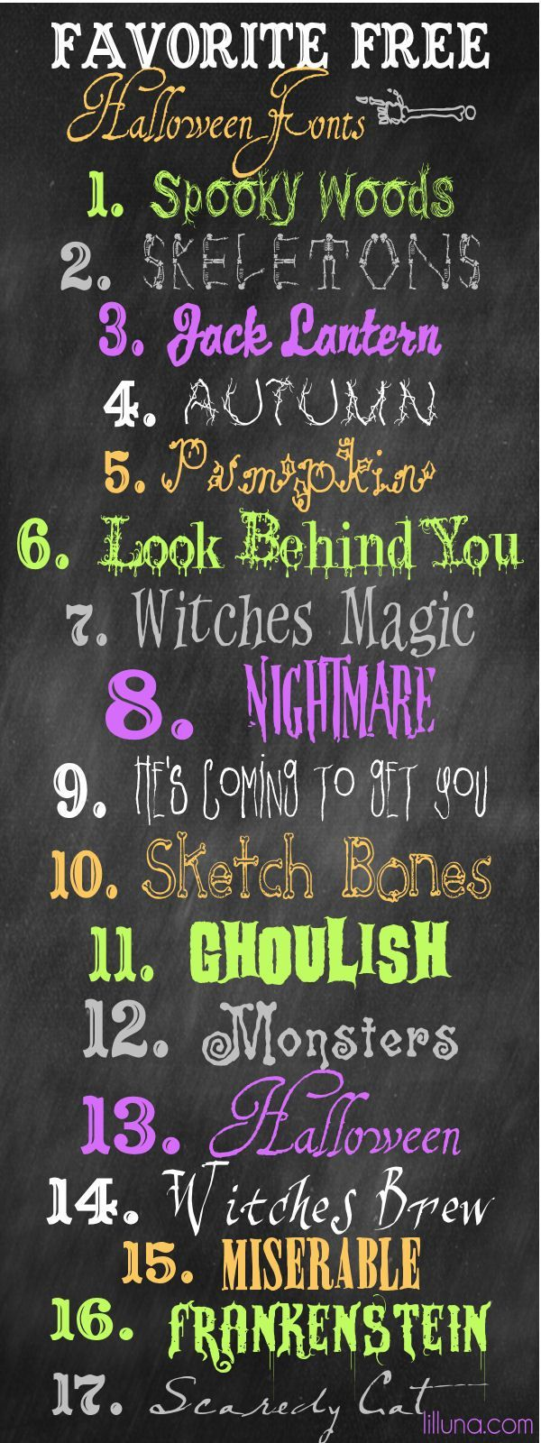 ALL are free - watch #11 Ghoulish - DON'T CLICK any of the GREEN Download Buttons - click the download button right under the font.  Favorite Free Halloween Fonts on { http://lilluna.com }