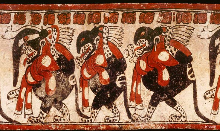 """Maya vase from the Justin Kerr Data Base of Maya vase paintings, depicts three underworld jaguars which may symbolize the three hearth stones of creation, a """"trinity of gods"""" in Maya religion known at the archaeological site of Palenque as GI, GII, GIII. The underworld jaguars all wear mushroom shaped ear plugs, and wear sacrificial scarves, symbolic of underworld decapitation. The scarves metaphorically bear the colors and spots of the Amanita muscaria mushroom."""