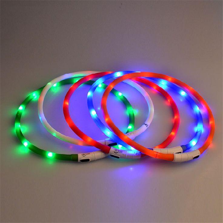 Pet Dog Collar Harness Leash Led Lights Necklaces Lead Collari Per Cani Piccola Taglia Belt Pet Dog Collar Chain Light QQM1651 #Affiliate