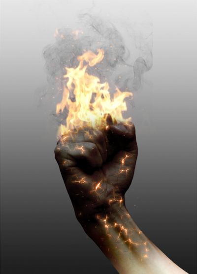 Combine fire, glow and crack effect in photoshop to create a realistic burning image tutorial