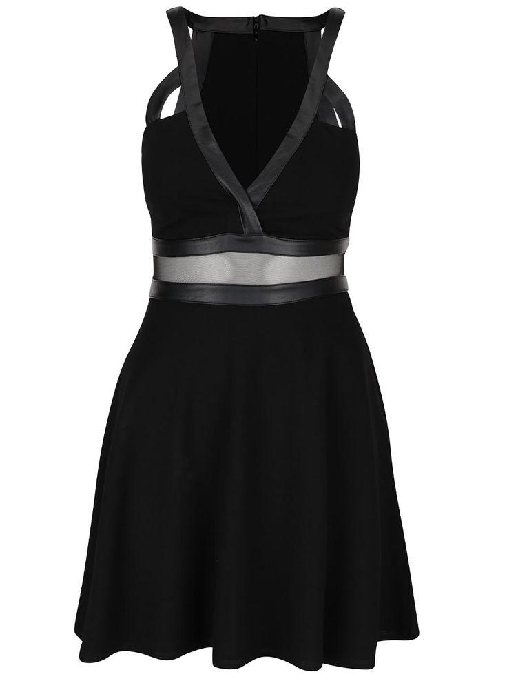 Černé šaty s véčkovým výstřihem TALLY WEiJL