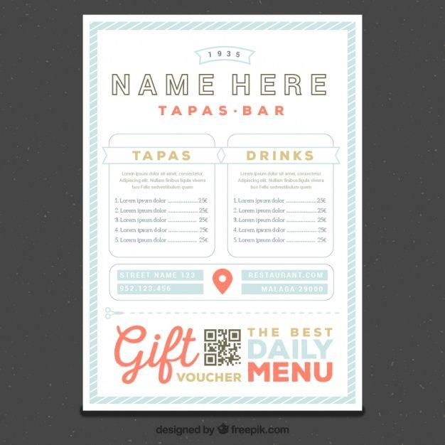 modello di menu ristorante in stile retrò Vettore gratuito