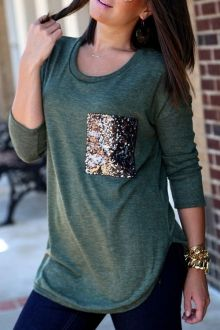 Sequins Pocket Long Sleeve T-Shirt...although I could probably make this very easily!!