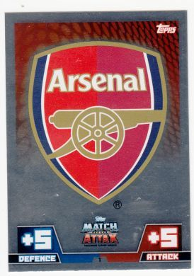 Topps Match Attax 14 15 Arsenal Club Badge Trading card.  All others available too!