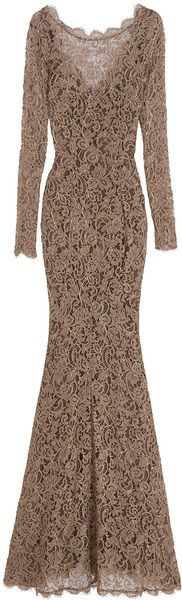 TEMPERLEY Long Sleeved Lace Gown