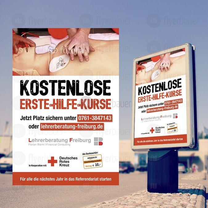 Plakat f眉r kostenlosen Erste-Hilfe-Kurs by flyerbauer