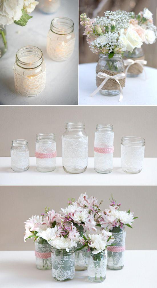 Marmeladengläser in klein habe ich noch - mit Spitze dekorieren für Teelichte?