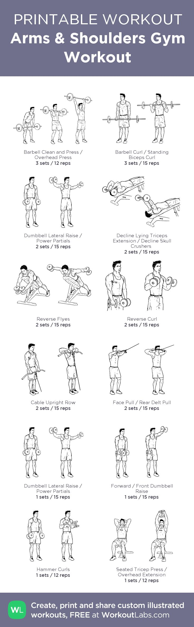Arms & Shoulders Gym Workout –my custom workout created at WorkoutLabs.com • Click through to download as printable PDF! #customworkout