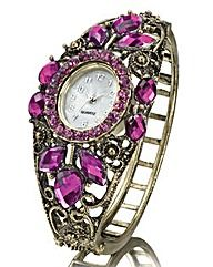 Ladies Purple Fancy Bangle Watch Love my Watch x