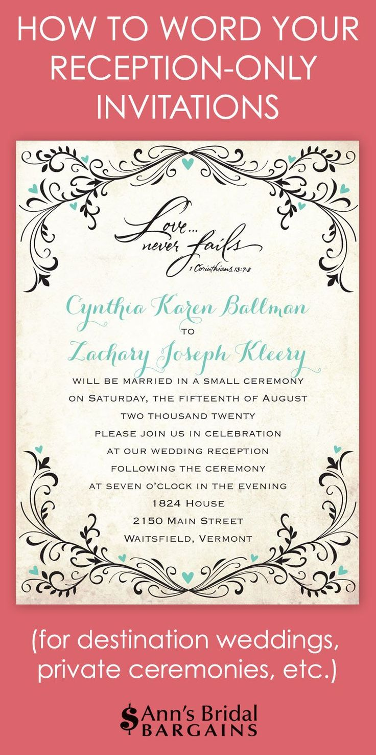 Whether you've chosen to have a destination wedding and a reception back home or a private ceremony with a reception afterward, you will need reception-only invitation wording that announces your plans and celebration details. Here are a few wording examples you can modify to fit your situation. Notice that both wording examples can be sent from the couple or from either set of parents.
