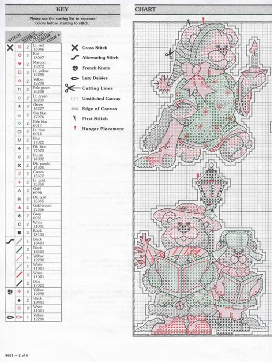 Beary Merry Christmas, plastic canvas, chart & colour list, page 2/3