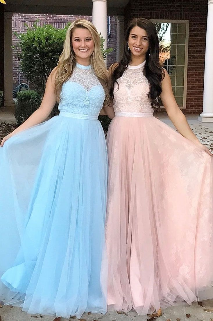 79f9311110b A-Line Round Neck Long Blue Tulle Prom Dress with Appliques in 2018 ...