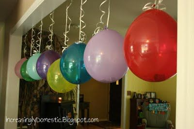 On child's birthday hang balloons w/one dollar in each, one for each year. Love this idea as a tradition. Will def be doing this this year.