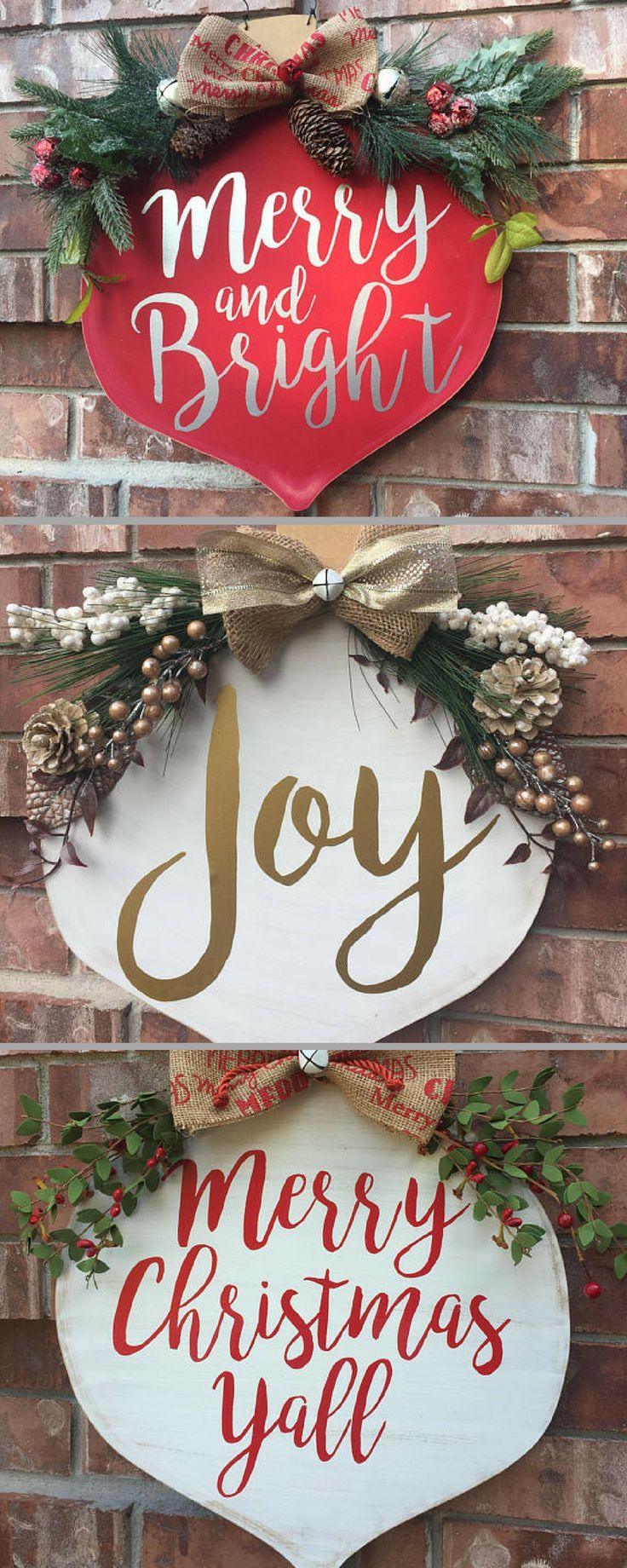 Cheerful Christmas Ornament Door Hangers. I'm in love with Merry and Bright and it's such a nice alternative to wreaths!! #commissionlink #Christmas #Christmasdecor #Christmastime #winter #frontdoor #homedecor #homedesign #homedecoration #homedecorideas #homesweethome #homestyle #country #rusticdecor