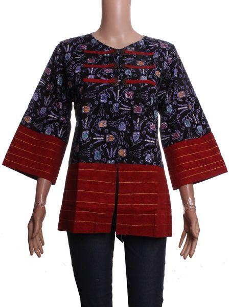 Blus Koin Embos V.2 - exclusive batik blouse Bahan : Katun Primisima + Kain Embos Jenis Batik : Tulis Kombinasi