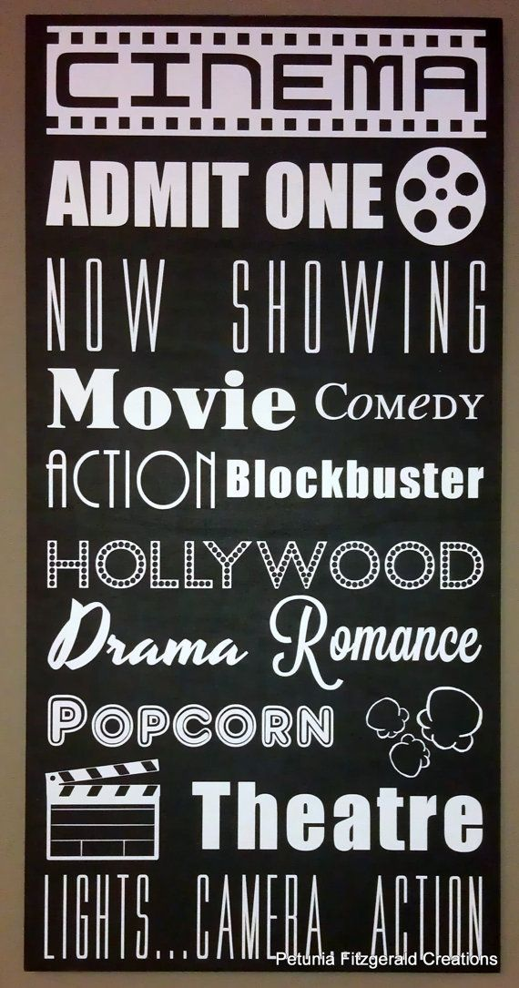 12x24 Movie/Cinema Themed Typography Word Art Painting. Listing on Etsy. Words to use on movie themed quilt.
