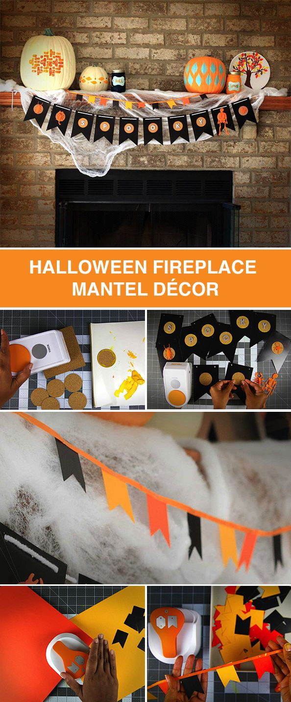 Decorate your mantel for Halloween with fun DIY projects. Try your hand at making a large or small bunting with phrases like Trick-or-Treat, Happy Halloween or Spooky with the push of a punch. You might love them so much you'll decide to leave them up all season long!