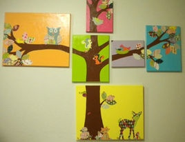 Woodland Canvas Nursery Art Hangings By Be Inspired Boutique - contemporary - nursery decor - Etsy