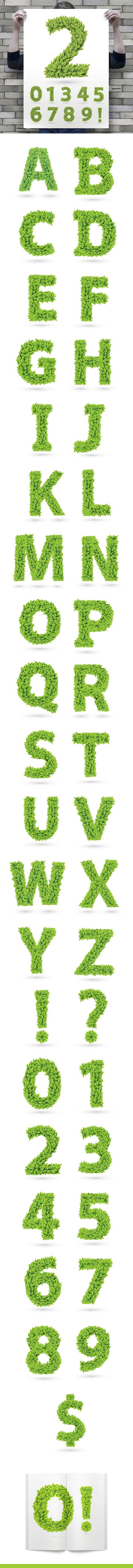 Amazing Spring font! #leaf #leaf font #font #green #grass #spring #vector #process #creation #download #letter #dollar #word #A #B #C #D #E #F #G #H #I #J #K #L #M #N #O #P #Q #R #S #T #U #V #W #X #Y #Z #1 #2 #3 #4 # 5 #6 #7 #8 #9 #? #!