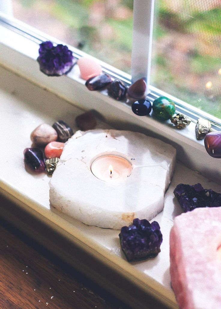 Natural clear quartz crystal candle holder – white…