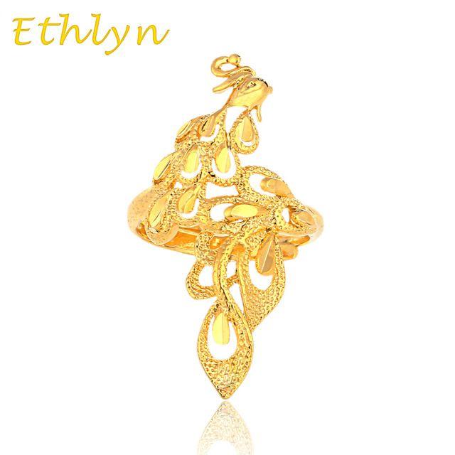Ethlyn anel decorado com um phoenix Ouro para as mulheres banhado a ouro de Noivado casamento Etíope phoenix ouro Redimensionável anel R11