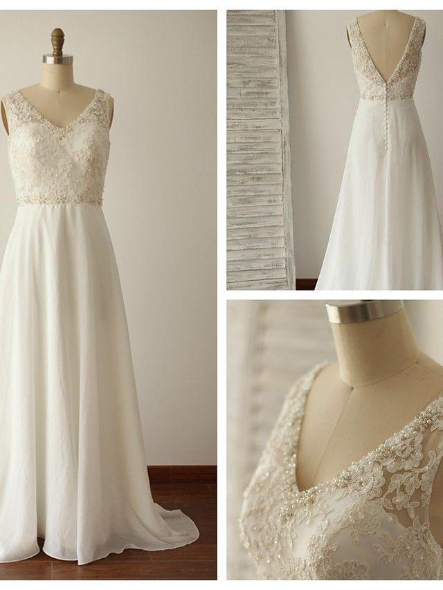 Hochzeitskleid - Elfenbein Chiffon / Spitze - A-Linie - Blusher/ Pinsel -Schleppe - V-Ausschnitt - EUR € 127.39