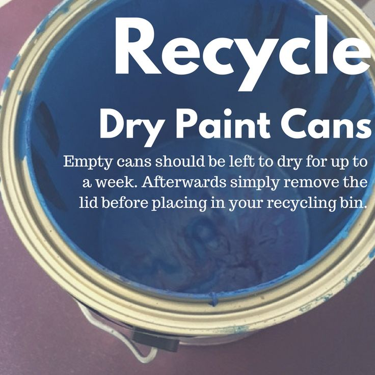 Are paint can recyclable? YES, empty paint cans are accepted in your recycling bin. Paint cans with less than 1 inch left can be left to dry for up to a week. Afterwards simply remove the lid before placing in your recycling bin. Have questions about paint disposal in San Diego County? Call 1-800-237-BLUE for more information.