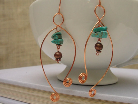Copper Wire  EarringsWhimsical Scrolled Ends  by KartisimDesign, $20.00