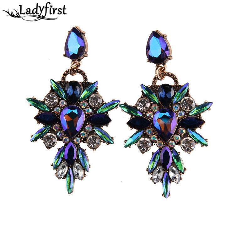 Ladyfirst 2016 neue bunte blume große marke design luxus starburst anhänger kristall juwel aussage ohrringe schmuck 3343