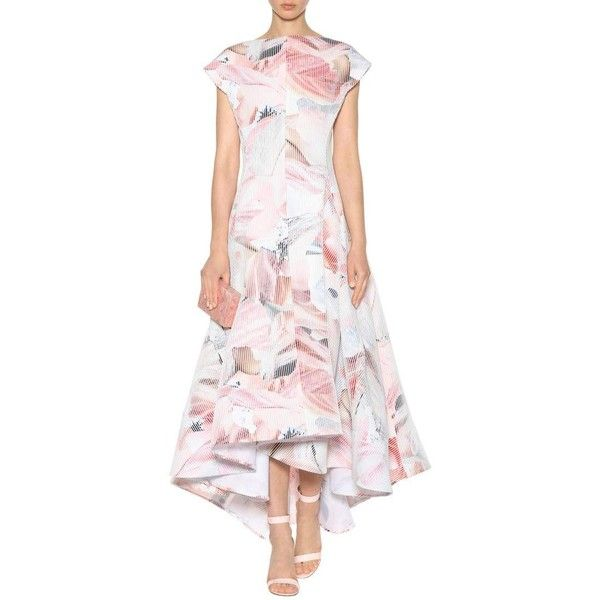 Maticevski Polarized Printed Gown ($2,685) ❤ liked on Polyvore featuring dresses, gowns, pink evening gowns, multi colored dress, pink evening dress, multi color dress and pink ball gown