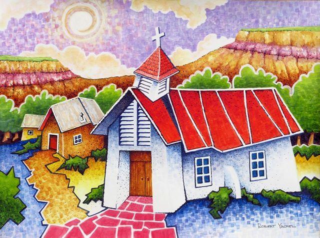 Pilar Chapel watercolor by Bob Yackel