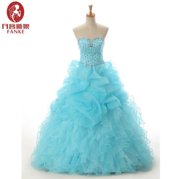 Cheap Quinceanera Dresses Turquoise Ball Gown Ruffles Sreapless Crystal Vestidos De 15 Anos Sweet 16 Dresses Debutante Gowns #Affiliate