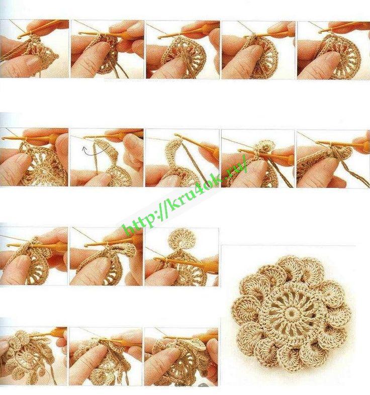 2D Crochet Flowers Free Patterns ༺✿ƬⱤღ http://www.pinterest.com/teretegui/✿༻