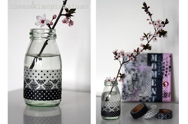 Masking Tapes verschönern Vasen oder Glasflaschen...