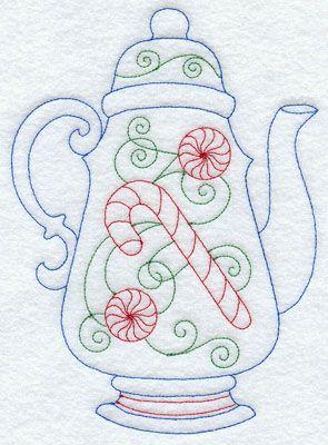 A festive Christmas Redwork teapot. Pinner has several tea item patterns