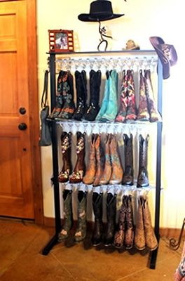 http://www.buildabootrack.com/Boot-Racks_c_10.html. For our closet. Keeps em off the ground & formed.