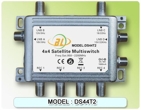 Satellite TV switch DS44T2 and 4 TV programs assigned to 4 users watch - http://nk-reviews.com/products/satellite-tv-switch-ds44t2-and-4-tv-programs-assigned-to-4-users-watch/