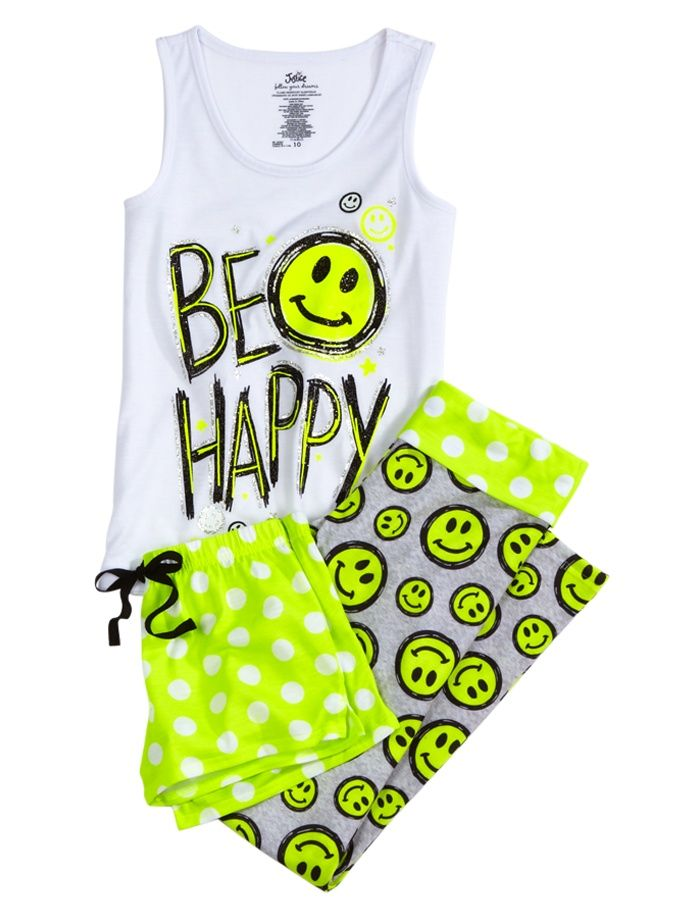 Smileys Face, Pajamas Sets, Pajamas Online, Buy Girls, Piece Pajamas, Pjs, Girls Pajamas, Justice Clothing, Girls Sleepwear