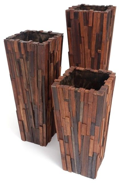 Salvaged Wood Planter Set contemporary indoor pots and planters