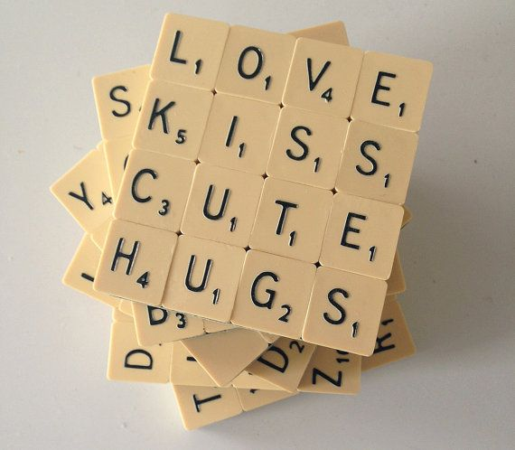 Upcycled Set of 6 Scrabble Coasters