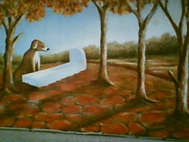 la lecon - Painting,  54x59 cm ©2008 by Mohamed Sakhri -