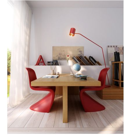 office red & wood.
