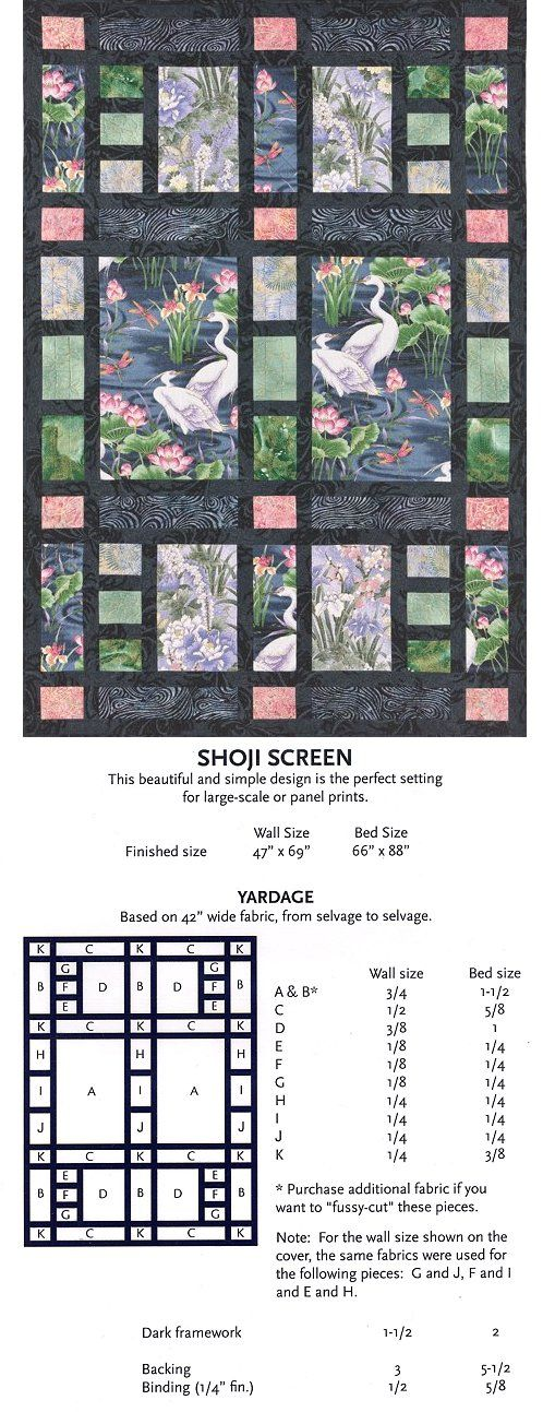 This is beautiful Asian style screen quilt that provides another interesting 'window' type design.