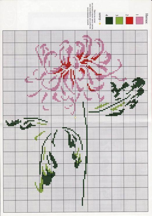 fleur - flower - point de croix - cross stitch - Blog…